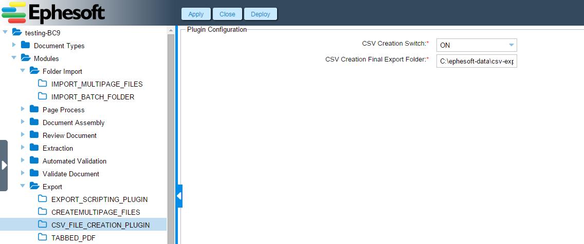 CSV File Creation Plugin | Ephesoft Docs