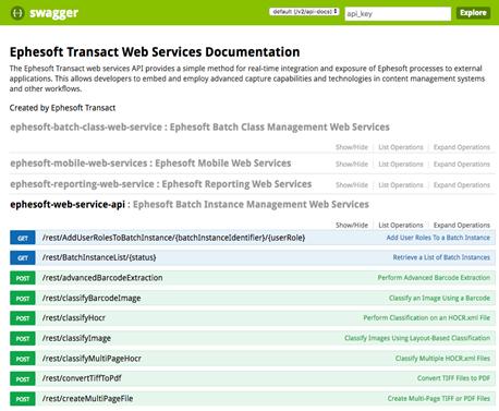 Transact Web Services API | Ephesoft Docs