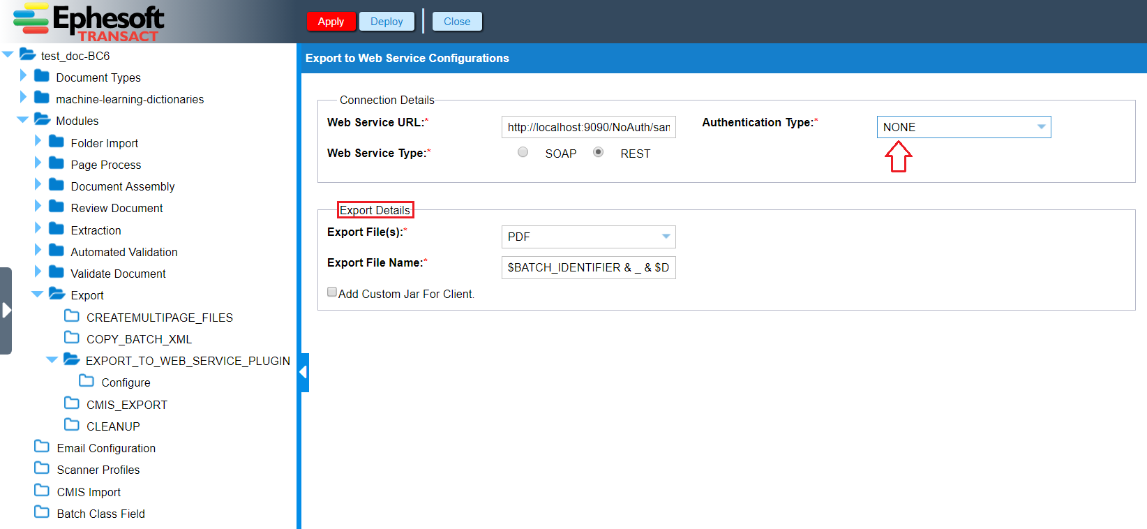 Export | Custom Export to Web Services Guide | Ephesoft Docs