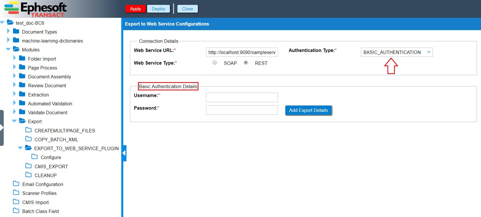 Export | Custom Export to Web Services Guide | Ephesoft Docs