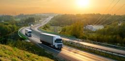 logistics trucks on highway